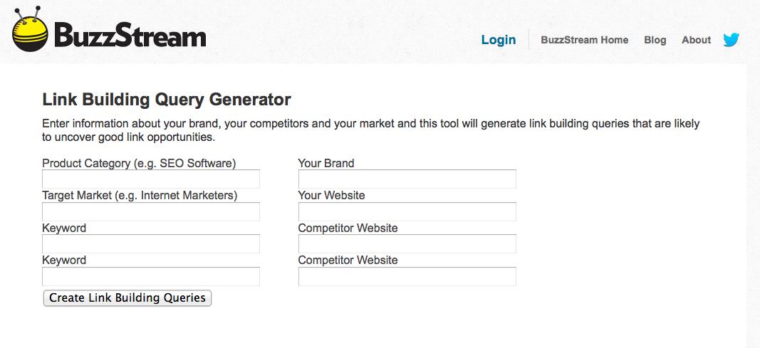 Top SEO Tool | Buzz Stream Link Build Query generator